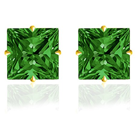 14k Solid Cufflinks - Orchid Jewelry 14k Solid Yellow Gold 4 mm Princess-Cut Green Emerald CZ Stud Earrings