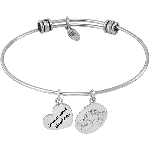 Connections from Hallmark Stainless Steel Cherub Multi-Charm Bangle