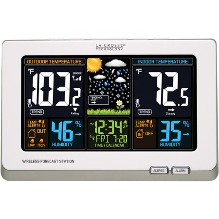La Crosse Technology Wireless Atomic Digital Color Forecast Station With Alerts  White
