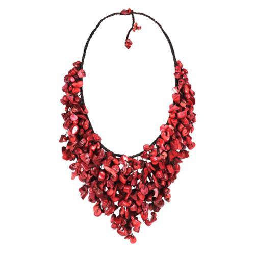 Aeravida Handmade Red Coral V-Shape Waterfall Necklace (Thailand) by