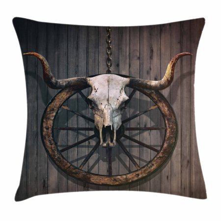Barn Wood Wagon Wheel Throw Pillow Cushion Cover, Long Horned Bull Skull and Old West Wagon Wheel on Rustic Wall, Decorative Square Accent Pillow Case, 18 X 18 Inches, Black -