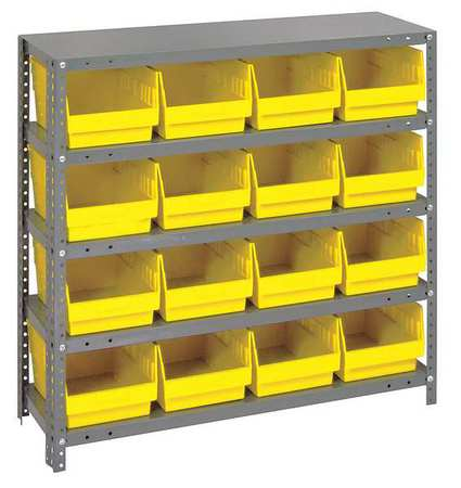 Bin Shelving,Solid,36X12,16 Bins,Yellow QUANTUM STORAGE SYSTEMS 1239-207YL
