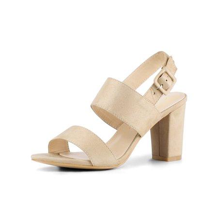 Unique Bargains Women's Open Toe High Block Heel Slingback Sandals