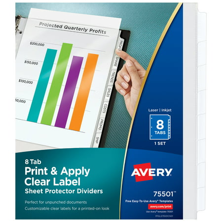 Avery 8-Tab Sheet Protectors Dividers, Printable Easy Peel Clear Labels, Index Maker, White Tabs, 1 Set (75501) Avery Index Maker White Dividers