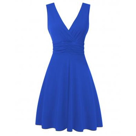 Women's V Neck Sleeveless Summer Casual Elegant Midi Dress