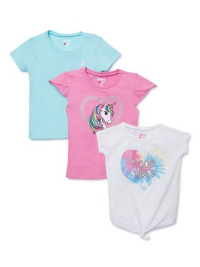 Limited Too Girls Unicorn, Tie-Dye and Solid T-Shirts, 3-Pack, Sizes 4-16