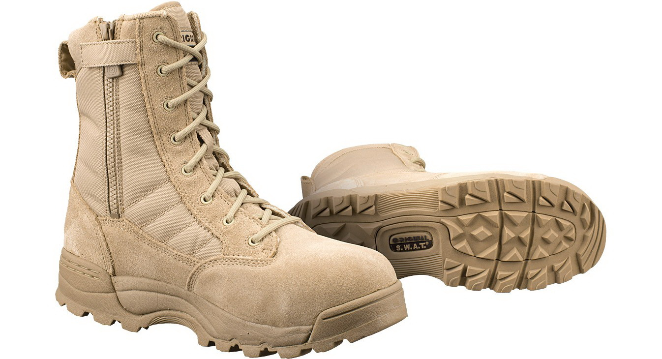 Original S. W. A. T.  119402 Classic 9 inch Side Zip Safety Mens Tan Boot Size - 5. 5