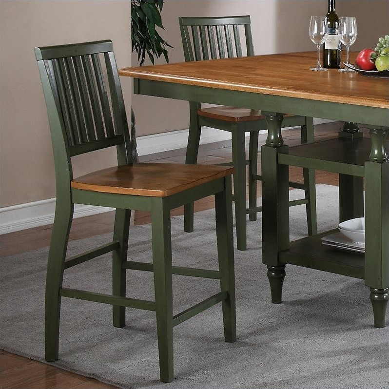 Steve Silver Candice Counter Height Dining Chair in Oak and Green (set of 2)