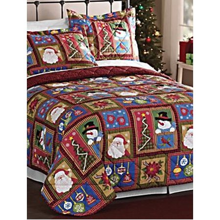 Christmas Santa Claus & Snowman Christmas Holiday Full / Queen Quilt & Shams Set (3 Piece Bedding) ()