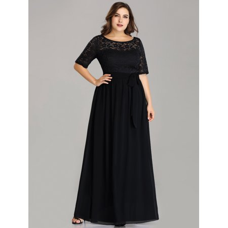 Ever-Pretty Womens Plus Size Elegant Lace Long Formal Evening Mother of the Bride Dresses for Women 07624 Navy Blue