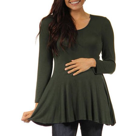 Women's Long-sleeve Scoop Neck Maternity Tunic Top