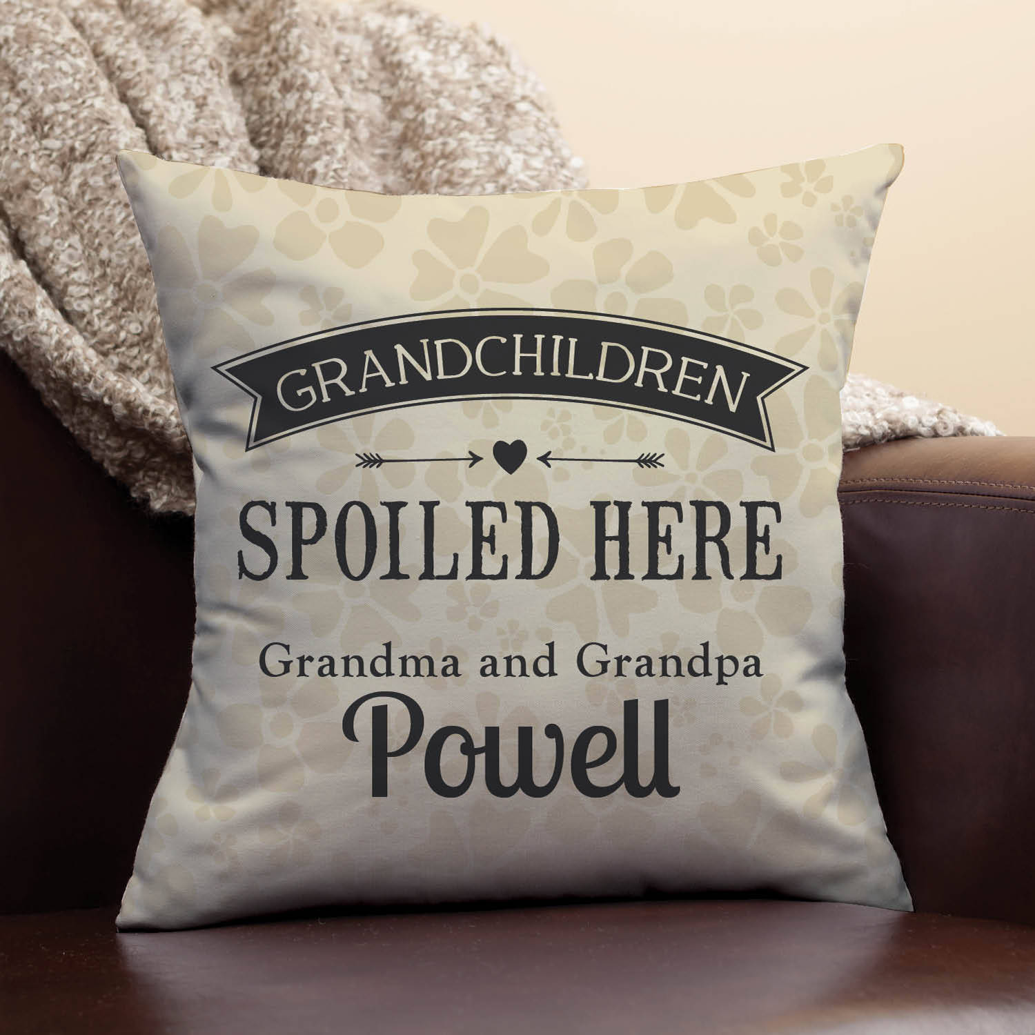 Personalized Throw Pillow - Grandchild Spoiled Here Grandparent Pillow