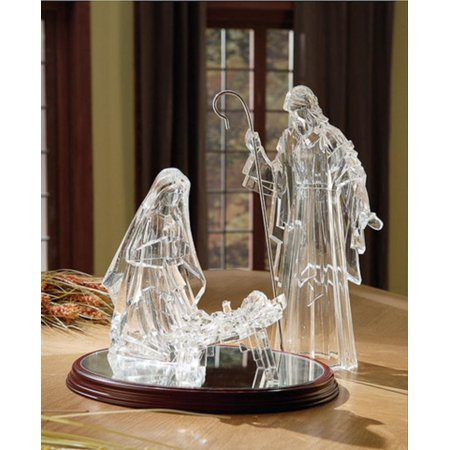 Religious Crystal - Icy Crystal Illuminated Religious Holy Family Christmas Nativity Figure 16