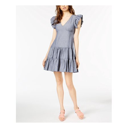 JILL STUART Womens Blue Ruffled Denim Cap Sleeve V Neck Mini Party Dress  Size: S