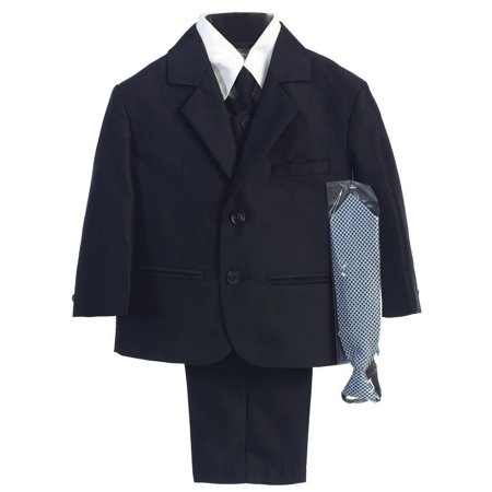 Boys Navy Two-button Herringbone Pattern Special Occasion Suit 14