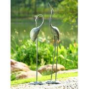 San Pacific International 2 Piece Contemplative Crane Garden Statue