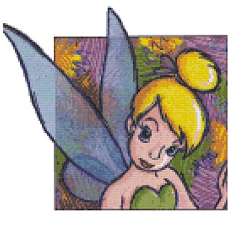 Disney Colorful Tinkerbell Counted Cross Stitch Pattern Disney Counted Cross Stitch