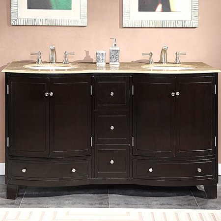 Silkroad Exclusive  60-inch Travertine Stone Top Bathroom Vanity Double Sink Cabinet Bathroom Double Sink Cabinets