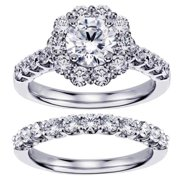 14k/ 18k White Gold 2 2/5ct TDW Brilliant Cut Diamond Halo Engagement Bridal Set (G-H, SI1-SI2) 18k Gold - Size 8