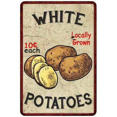 White Potatoes Kitchen Vintage Look Chic 8x12 Metal Sign -
