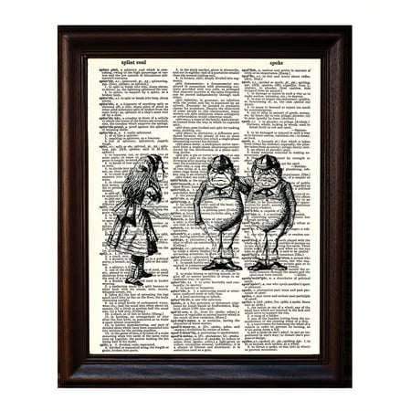 Tweedle Dee and Dum - Dictionary Art Print Printed On Authentic Vintage Dictionary Book Page - 8 x 10.5 - Tweedle Dee