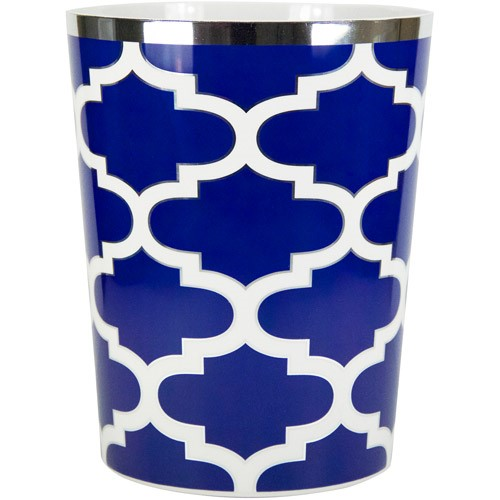 Mainstays Navy & White Fretwork Wastebasket, 1 Each