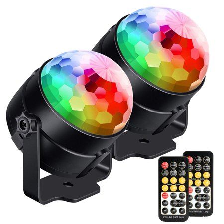 Led Lights Sound Activated (2 Pack LED Disco Lights,  Sound Activated Party Lights Strobe Lamp with Remote Control 7 Lighting)