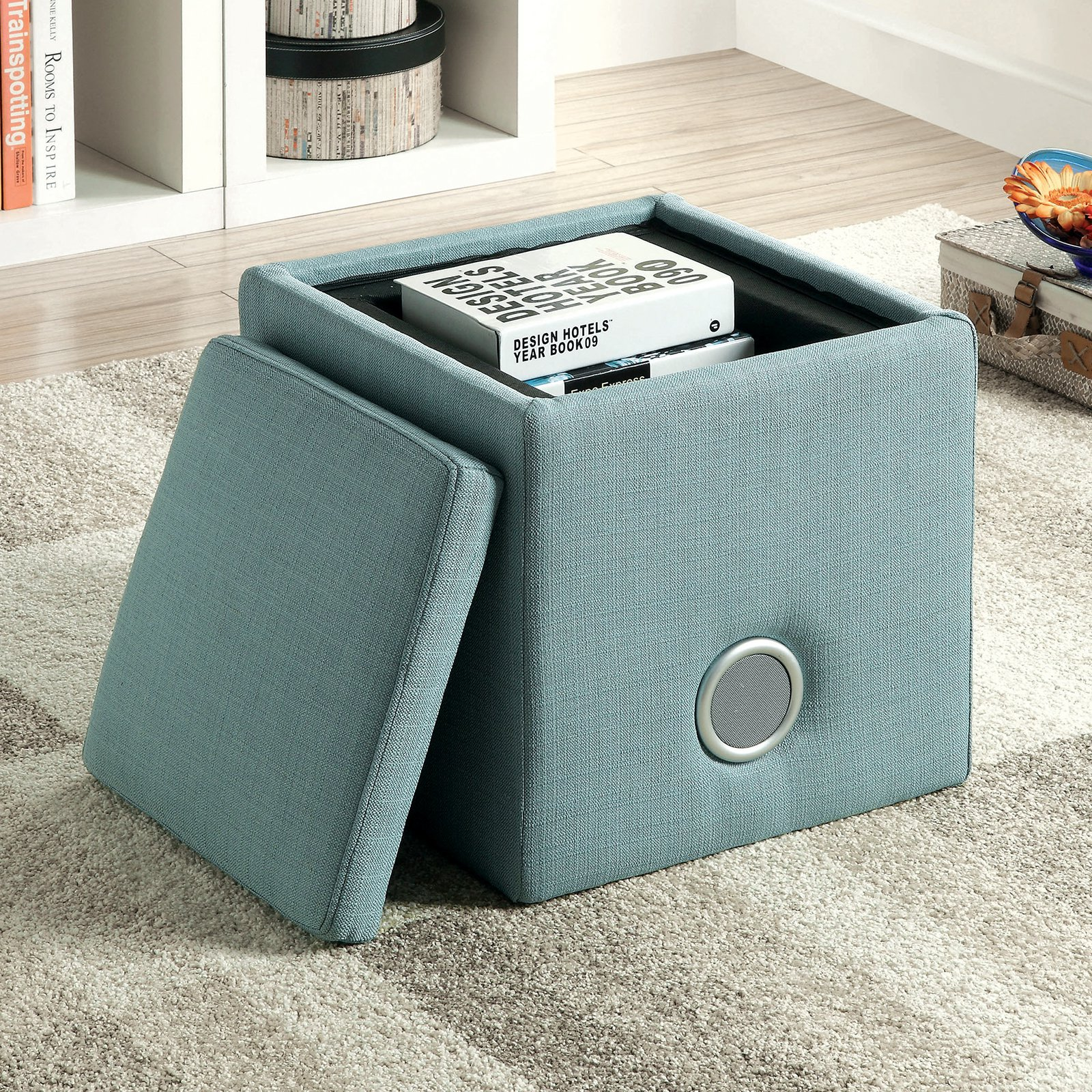 furniture of america mini cube storage ottoman with bluetooth speaker walmartcom - Storage Cube Ottoman