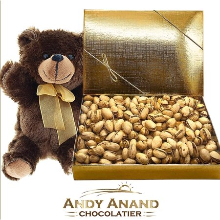 Salted California Pistachios - Andy Anand Chocolates- Premium California Organic Pistachios with light Sea Salt in a Premium Gift Basket Plus Teddy Bear, Slow Roasted made in Small Batches 1 LBS
