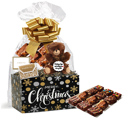 Merry Christmas Gourmet Food Gift Basket Chocolate Brownie Variety Gift Pack Box (Individually Wrapped) 12pack