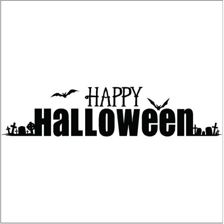 Happy Halloween with Graveyard vinyl lettering decal home - Halloween Sales Sayings