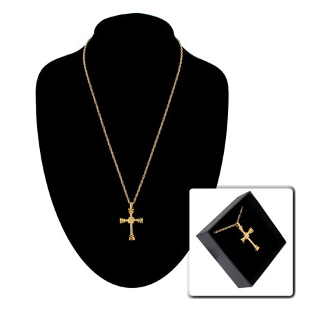 Yellow Gold Tone Cross Christian Pendant Necklace Gift Boxed](Christian Cross Necklace)