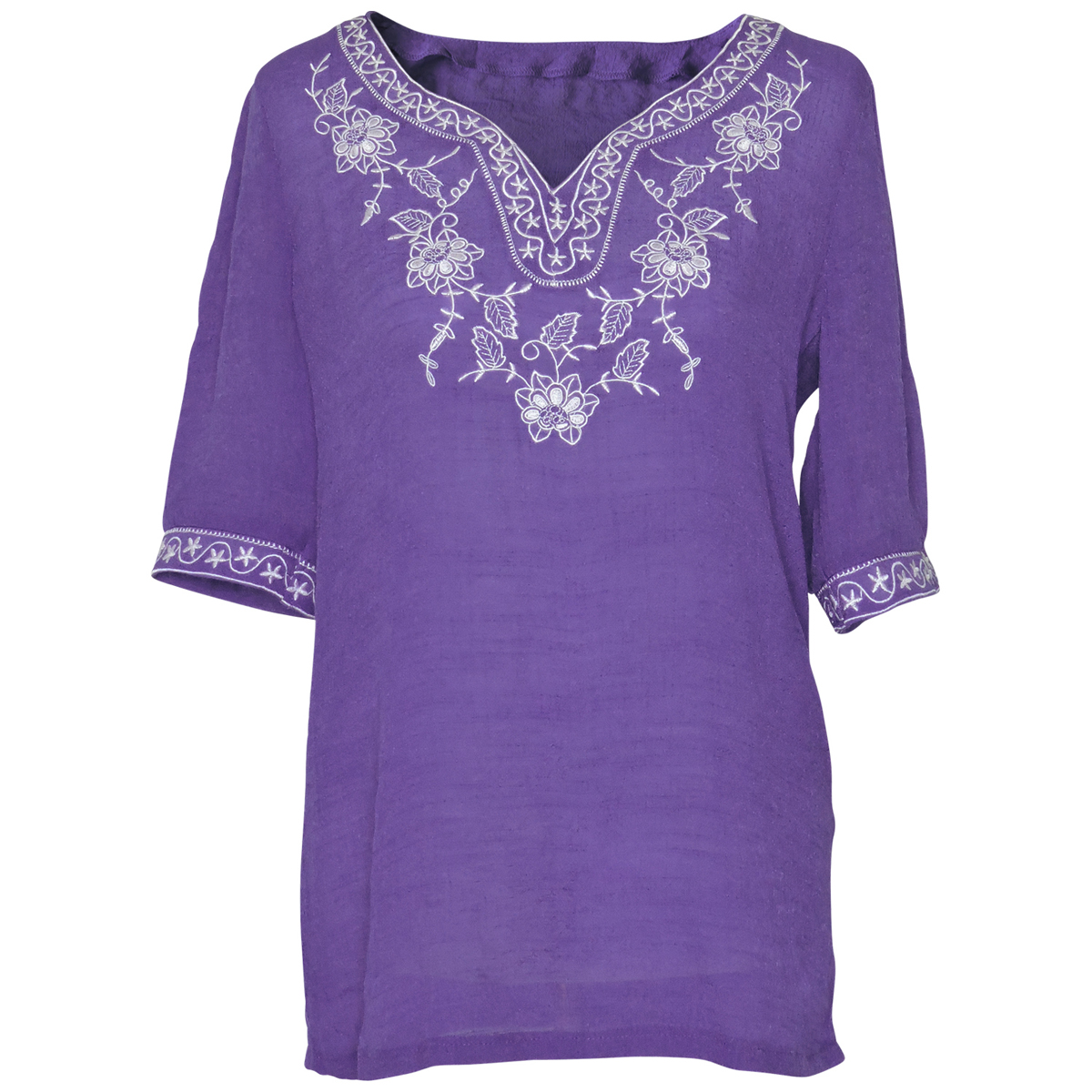 Faship Womens Short Sleeve Embroidered Embroidery Tunic Top Blouse