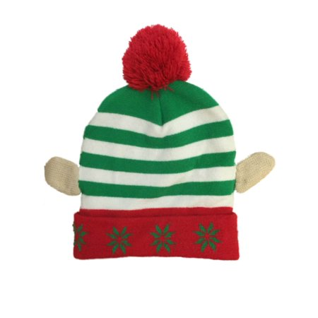 Mens Striped Red & Green Pom Elf Ears Christmas Holiday Stocking Cap Beanie Hat](Elf Caps)