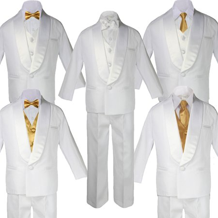 5-7pc Boy Teen White Shawl Lapel Party Suits Tuxedo GOLD Satin Bow Necktie Vest