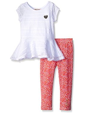 Juicy Couture Little Girls' White Top with Printed Stretch Jersey Pants, White, 6