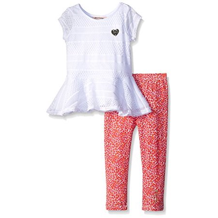 Juicy Couture Little Girls' White Top with Printed Stretch Jersey Pants, White, 6 ()