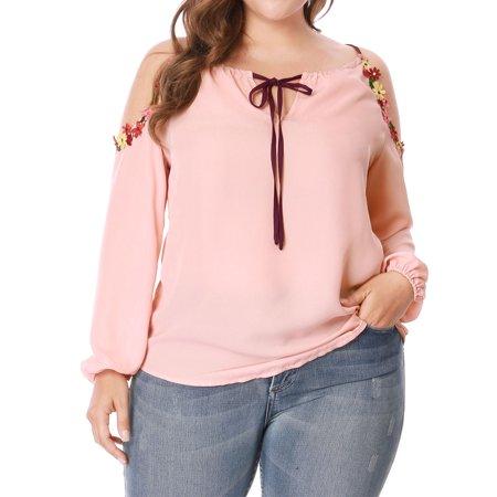 051ad1c758 Unique Bargains - Women Plus Size Cold Shoulder Drawstring Neck Floral Trim  Chiffon Blouse - Walmart.com