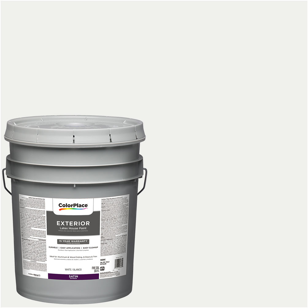 ColorPlace Exterior Paint, White, Satin Finish, 5 Gallon