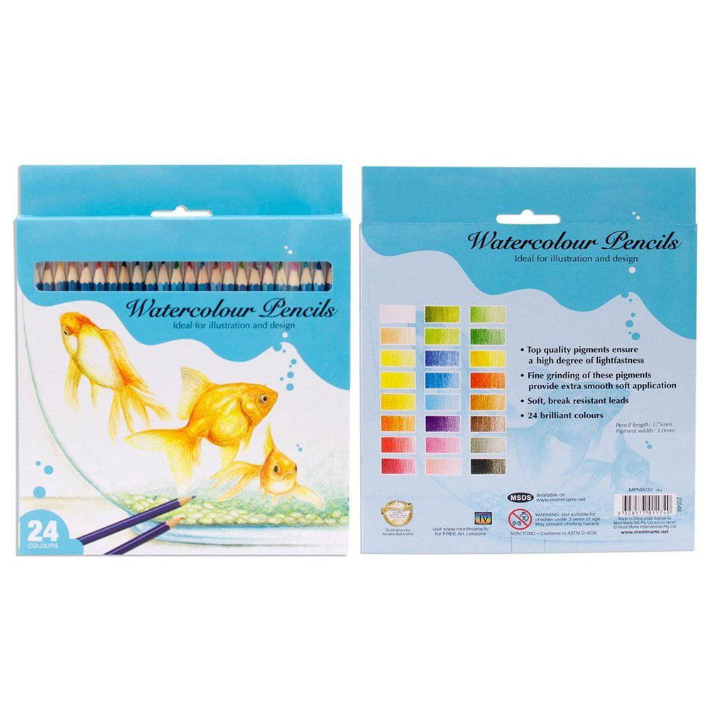 24 Brilliant Colours Watercolor Water Colour Pencils Drawing Pencil
