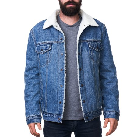 Alpine Swiss Mens Sherpa Lined Denim Jacket Classic Button Up Jean Trucker (Sherpa Lined Thermal)