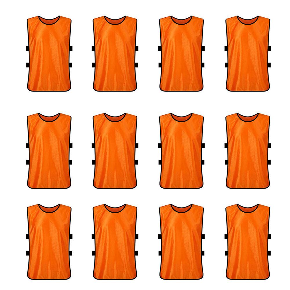 TopTie Training Vests Soccer Bibs Set of 12, Pinnies-Oran...