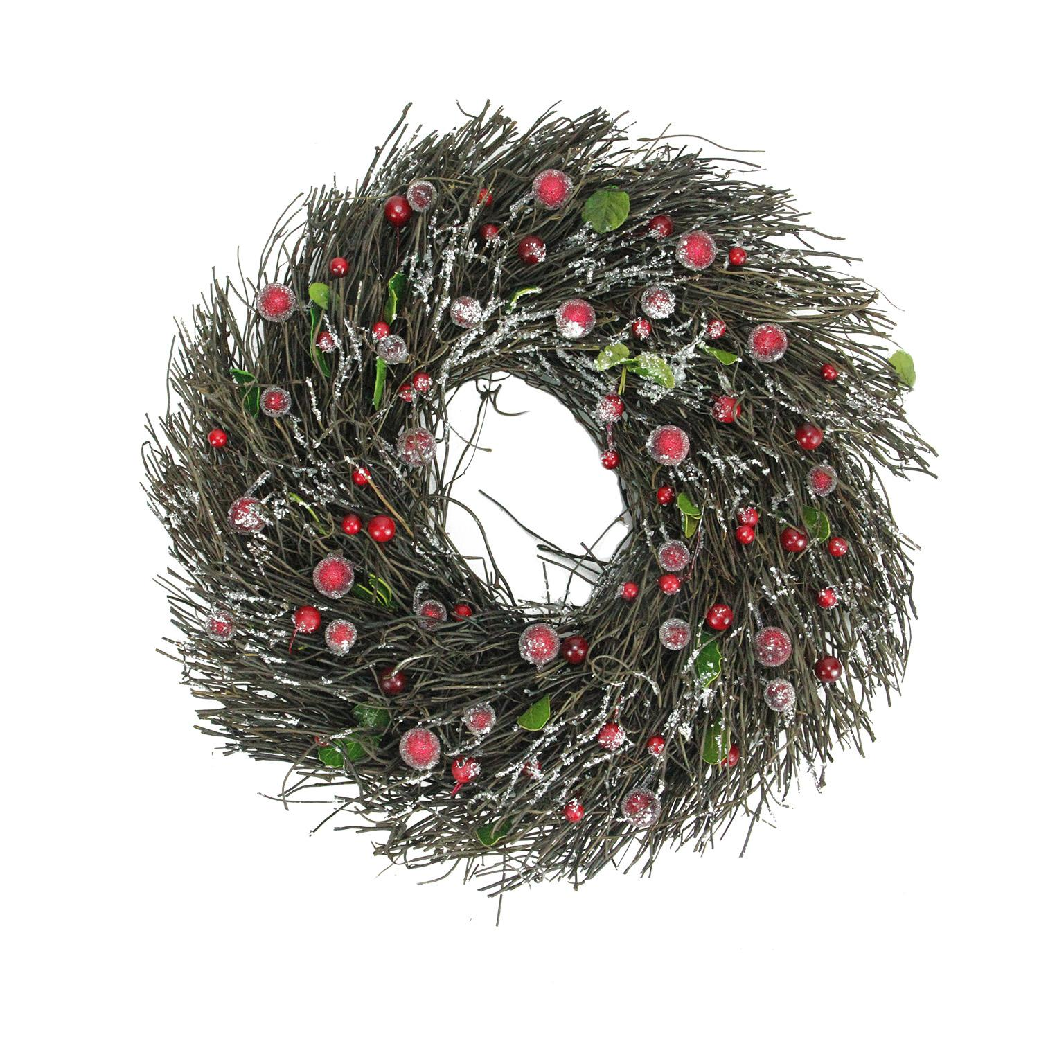 """13"""" Frosted Brown Twig Artificial Christmas Wreath with Leaves and Berries - Unlit"""