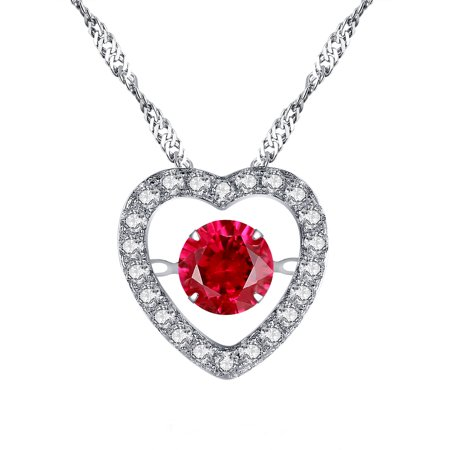 - Devuggo Sterling Silver 0.84ct Round Shaped Simulated Ruby Heart Style Dancing Pendant Necklace, 18
