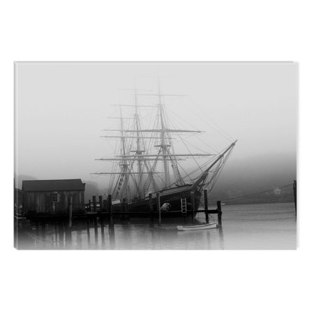 Original Modern Abstract Painting (Startonight Canvas Wall Art Black and White Abstract Old Ship in Harbor, Dual View Surprise Artwork Modern Framed Ready to Hang Wall Art 100% Original Art Painting 23.62 X 35.43 inch )