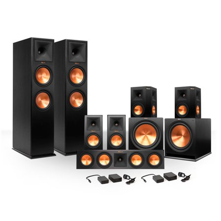 Klipsch 7 2 RP-280 Reference Premiere Surround Sound Speaker Package with  R-115SW Subwoofers and Two FREE Wireless Kits