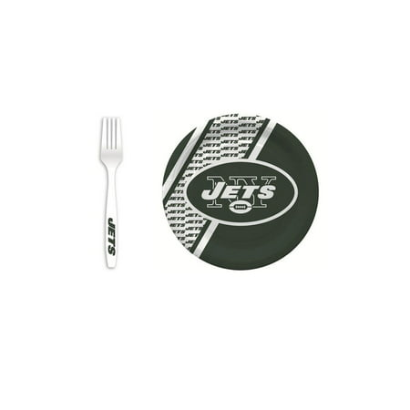 New York Jets 20 Pc Disposable Paper Plates And 20 Pc Plastic