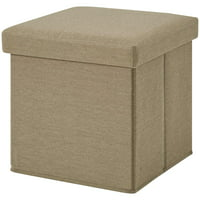 Mainstays Ultra Collapsible Storage Ottoman, Tan Faux Suede
