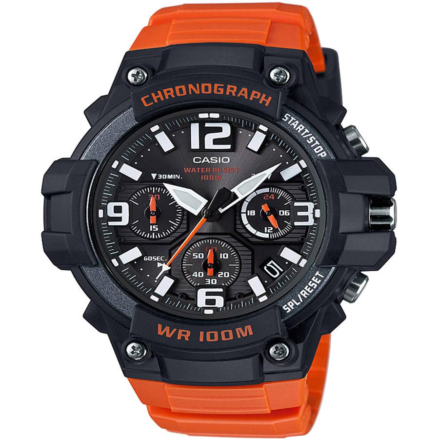 Casio Men's Black/Orange Chronograph Watch, Resin Strap, MCW100H-4AV