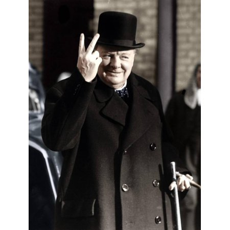 Winston Churchill Portrait (Winston Churchill Making His Famous V for Victory Sign, 1942 World War II Famous Photography Print Wall Art)